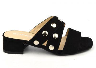 Mules chaussons nu-pied cuir daim noir, petits talons, F2723, Brenda Zaro, petite pointure 32 33 34 35 2