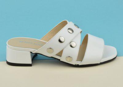 Mules chaussons nu-pied cuir mat blanc, petits talons, F2723, Brenda Zaro, petite pointure 32 33 34 35 2